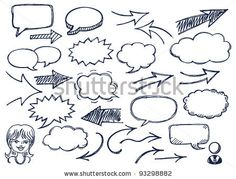 Hand drawn arrows and speech bubbles illustration set - stock vector