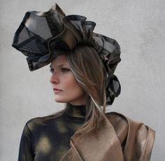Plastic Mesh headdress. Fashion artwear from re-purposed materials http://judybales.com