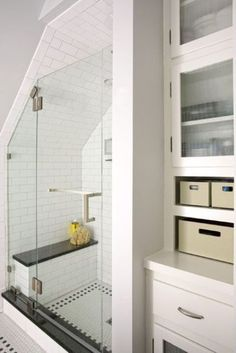 2013 reader remodel contest master suite winner in attic after bathroom shower under roof& slope with tiled walls and glass door, built-in storage in wall Source by The post House Tours appeared first on George Garden Services. Loft Bathroom, Upstairs Bathrooms, Bathroom Renos, Bathroom Ideas, Bathroom Organization, Master Bathroom, Bathroom Storage, Minimal Bathroom, Bathroom Grey