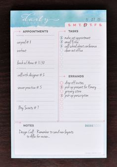 Daily notepad for planning busy days