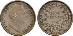† Coins of India. British India. Silver Rupee mule, 1840, obv of William IV, WILLIAM IIII KING, n