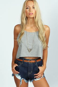 Marissa High Cut Denim Hotpants at boohoo.com