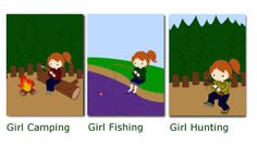 """Girl camping fishing and hunting  Nursery Wall by cocoandjojosroom. Boy camping fishing and hunting nursery by cocoandjojosroom. (Set of 3) 8""""x10"""" - $18    ♥ ♥ ♥CocoandJoJosRoom strives to create beautiful, high quality prints at an affordable price so every nursery can be perfect.♥ ♥ ♥"""