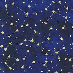 Moon and Stars Fabric by Michael Miller Gold Shimmer Constellations Stars on…