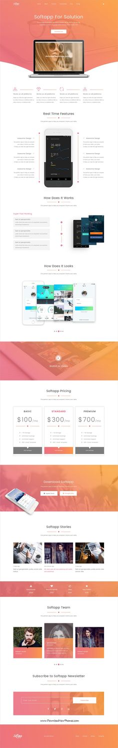 Softapp is clean and modern design PSD template for #onepage software and #app landing page website to live preview & download click on Visit