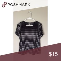 Striped Tee Navy blue & white stripes. One button at the top in the back. 93% rayon 7% spandex. Never worn. Perfect condition Talbots Tops Tees - Short Sleeve