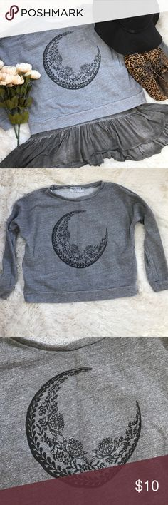 Moon Design Heather Gray Crew Sweater A really cute sweater that would look great with a ruffled tee underneath (as pictured) or with a chambray collared shirt underneath. It is slightly cropped but not dramatically. Project Social Sweaters Crew & Scoop Necks