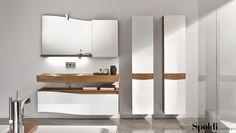Il TAO di 100 cm, con finitura guscio di noce e laccato bianco lucido, valorizza quest'elegante composizione.  #tao #spoldiideabagno #lavabo #arredobagno #legno #bathroom #interiordesign