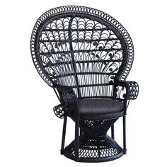 Peacock Chair Black (785 CAD) ❤ liked on Polyvore featuring home, furniture, chairs, accent chairs, black accent chair, bloom chair, rattan furniture, flower chair and flower stems