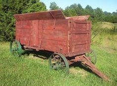 Old Primitive Antique Farm Wagon - Grain Wagon - Steel Wheel - Great Display