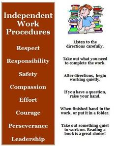 Back to School Procedures for Independent Work Time This back to school idea is to teach your students the rules and procedures that will help you maintain classroom control at the beginning of the s. Classroom Procedures, Classroom Behavior, Classroom Rules, School Classroom, Classroom Management, Class Management, Behavior Management, Classroom Ideas, Beginning Of The School Year