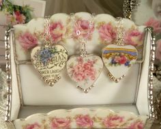 Broken China Jewelry Pendants and Necklaces, www.RoseBlossomCottage.com