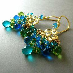 Peacock Chandelier Earrings Peridot Topaz and by SurfAndSand