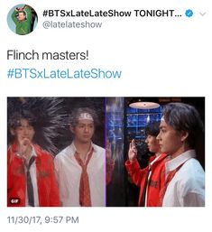 """BTS on James Corden DID YOU SEE THIA THOUGH TAE DIDN'T EVEN BLINK AND THEN JUNGKOOK LOOKED SO AMAZED BY HIS HYUNG LIKE """"WOAH HYUNG WHAT THE HELL"""""""