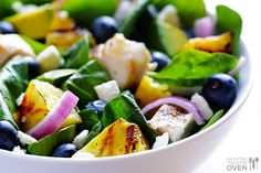 Grilled Pineapple, Chicken & Avocado Salad: count for avocado, use FF feta, <= 2 tsp. olive or other healthy oil per serving, use sugar substitute or count for honey (use less) Avocado Salad Recipes, Avocado Chicken Salad, Shrimp Avocado, Grilled Pineapple Chicken, Grilled Chicken, Grilled Food, Grilled Salmon, Pineapple Recipes, Pineapple Salad