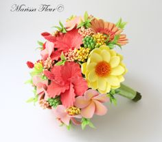bridal bouquet of yellow and coral - Google Search