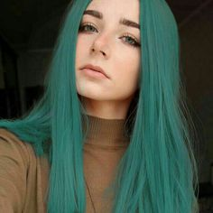 Black to Green Wig; Straight Hair - Black to Green Wig; Straight Hair Black to Green Wig; Hairstyles Haircuts, Pretty Hairstyles, Straight Hairstyles, Bandana Hairstyles, Quick Hairstyles, Beautiful Hair Color, Cool Hair Color, Hair Colors, Pastel Hair