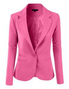 LE3NO Womens Slim Fit Single Button Tailored Boyfriend Blazer Suit Jacket (CLEARANCE)