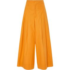 Sea High Waist Corset Culottes (€320) ❤ liked on Polyvore featuring pants, capris, yellow, high rise trousers, highwaist pants, lace up pants, orange pants and high-waisted trousers
