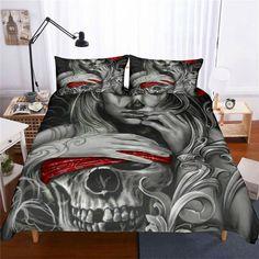 Bedding sheet set Ride Die Haley motorcycle duvet cover red rose kiss skull