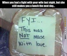 This is called making-your-husband-lunch while-you're-fighting.- I am so doing this lol. Casey always says I make everything with love, lol, so it tastes better, haha! Can't Stop Laughing, Laughing So Hard, Funny Stuff, Funny Things, Random Things, Random Stuff, Weird Things, Girly Stuff, Frases