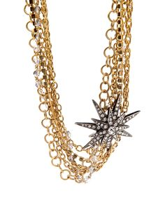 24k gold plated necklace with multiple chains and gunmetal starburst with crystals