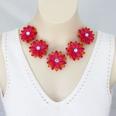 Orange Necklace Hot Pink Necklace Chunky Flower Necklace Fuchsia Necklace Summer Necklace Colorful Necklace Pink and Orange Wedding