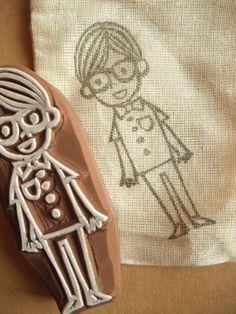 boy rubber stamp - hand carved rubber stamp