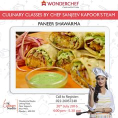 Get going with our much loved #PaneerShawarma as it adds flavour to your nosh.#JoinUs with Chef Sanjeev Kapoor's expert team. #RegisterNow! Call - 022 26057248