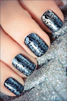 Black and silver - Nail Art