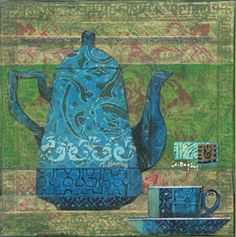 Anne Bagley's art at Crary Art Gallery mainly blue focal point with green horizontal liinein background... lovely texture & love the colors!