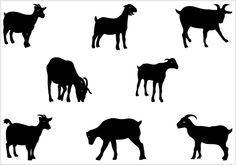 Farm Silhouette Clip Art | Goat Vector Silhouette Clip Art - SilhouettesClipArt