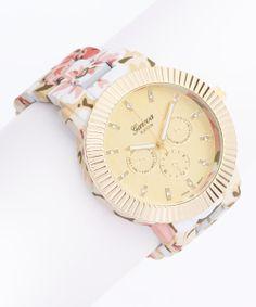 White & Yellow Floral Bracelet Watch
