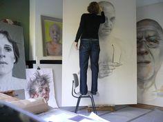 Artist Anne-Marie at work in her studio #workspace