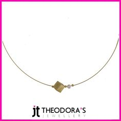 Handmade gold plated silver rhombus charm pendant and white fresh water pearl on gold plated steel collar with silver endings. Ideal for layering necklaces. Jewelry which exudes a sense of elegance and sophistication.---------------------------------------------------------------Gold plated silver rhombus charm collar necklace