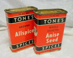 Set of TONES Spice Tins - Vintage Midcentury - Anise and Allspice - Des Moines Iowa