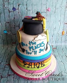 An Oh the Places You'll Go graduation cake for Paige. Congratulations!!
