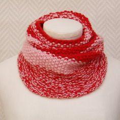 Echarpe, snood col en laine orange et rose