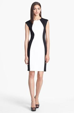 Donna Morgan Colorblock Sheath Dress (Online Only) | Nordstrom | Black and White Colorblock Dress