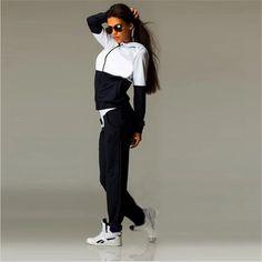 2017 Fashion Womens Zipper Tracksuit Hoodie Sweatshirt+Pants Casual Patchwork Hip Pop Sportsuit sportswear Suits For Women Hoodie Sweatshirts, Sweat Shirt, Tracksuit Set, Costume, Manga, Jumpsuits For Women, Sports Women, Outfit Sets, Dame