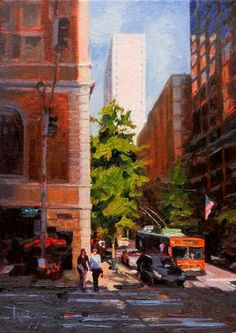 """""""Somewhere on Fourth Street Seattle, cityscape oil painting, by Robin Weiss."""" - Original Fine Art for Sale - © Robin Weiss"""