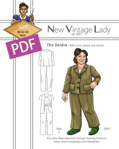 All sizes from 40-60 bust available in PDF! https://www.etsy.com/listing/533324726/the-deidra-1940s-wwii-slacks-and-jacket?ref=related-1