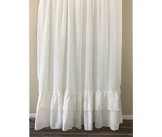 White Shower Curtain with 2 rows of Mermaid long Ruffles, 100% Linen shower curtain, 72x72, 72x85, 72x94 or Custom Size