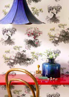 lamp, wallpaper, table, jug. the whole damn thing!