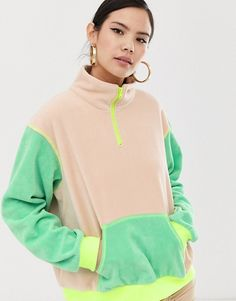 Buy ZYA half zip fleece with contrast panels at ASOS. Get the latest trends with ASOS now. Dc Shoes Girls, Zara Fashion, Fashion Outfits, Color Blocking Outfits, Sweaters For Women, Jackets For Women, Smart Outfit, Costume Collection, Cute Comfy Outfits