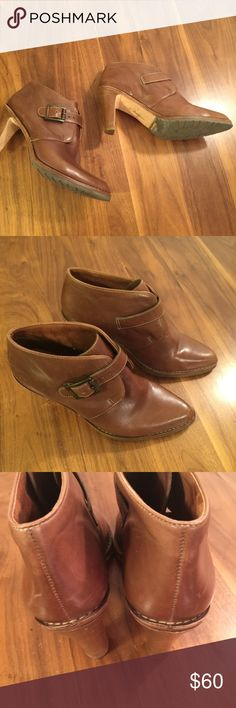 "Cole Haan Ankle Boots Warm caramel brown leather ankle boots wit buckle strap. Stacked 3.5"" wood heel. Nike Air comfort insoles. Excellent condition with minor rub marks. Cole Haan Shoes Ankle Boots & Booties"