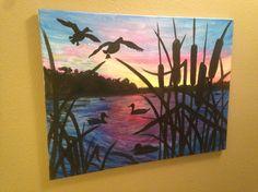 Early Morning hunt. Louisiana duck hunting acrylic painting. #canvasesbychloe