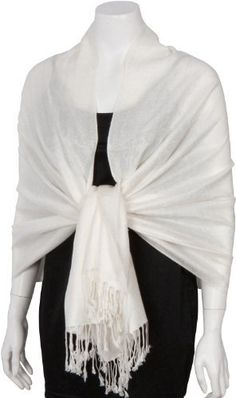 "70 x 28"" Silk Paisley Self-design Pashmina Shawl / Wrap / Stole - Ivory"" Sakkas. $12.99. Save 90%!"