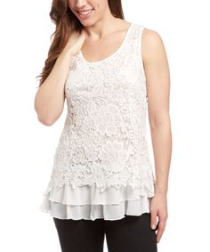 Another great find on #zulily! White Lace Tank by Simply Irresistible #zulilyfinds