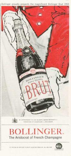 Bollinger Brut French Champagne Ad 1953 (1959)